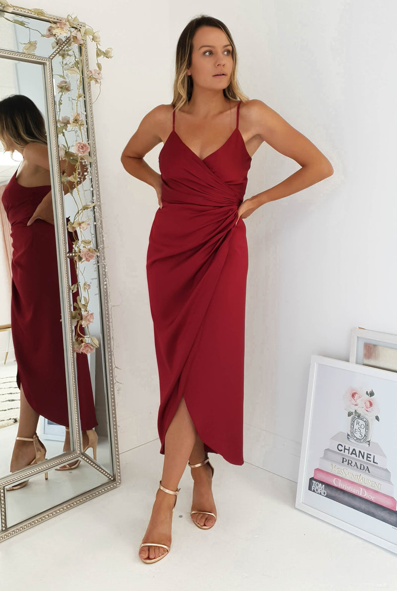 Carrie Midi Wrap Dress Wine