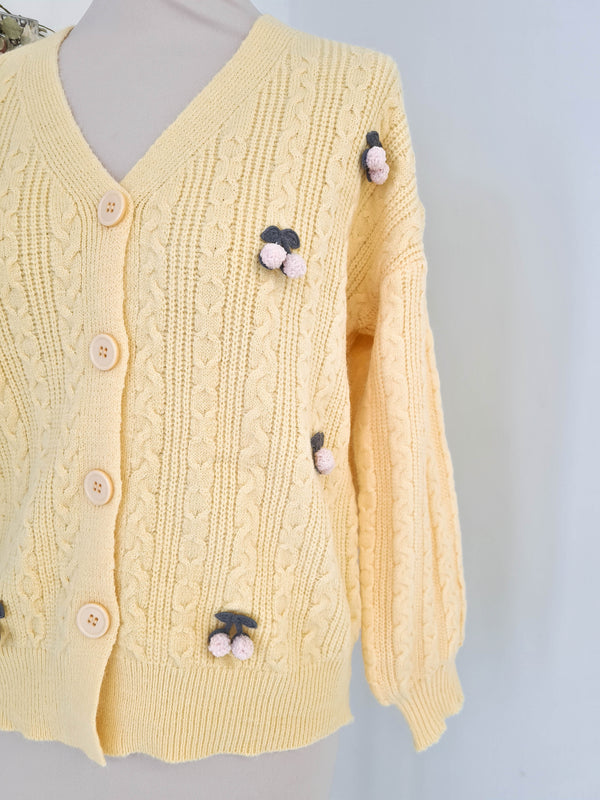 Cherry Cardigan Yellow