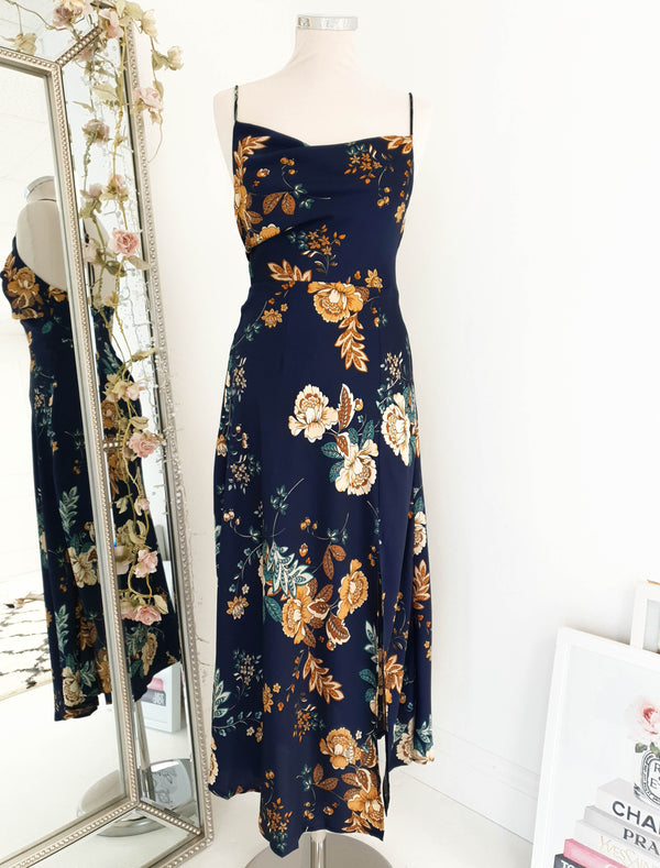 Kacey Slip Dress Navy Print