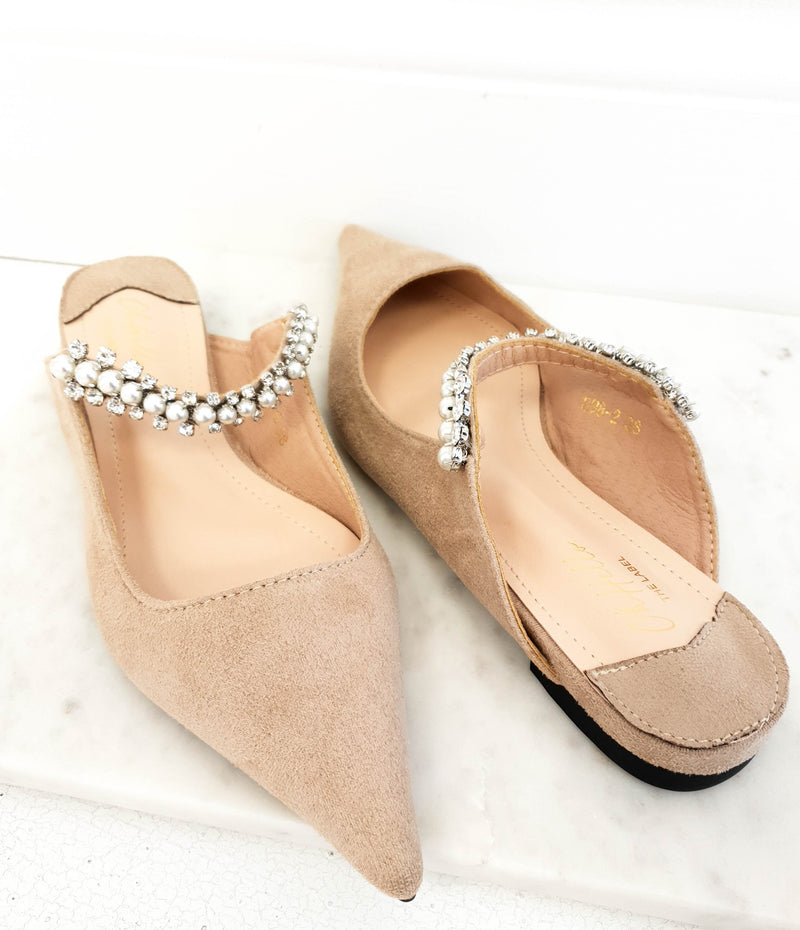 Lisbeth Pearl Strap Mules Nude