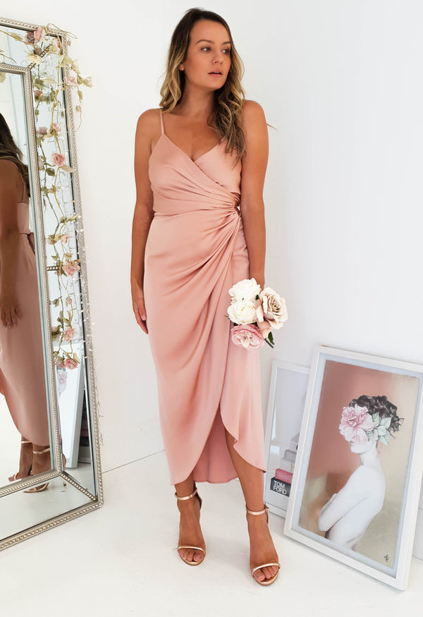 Carrie Midi Wrap Dress Rose
