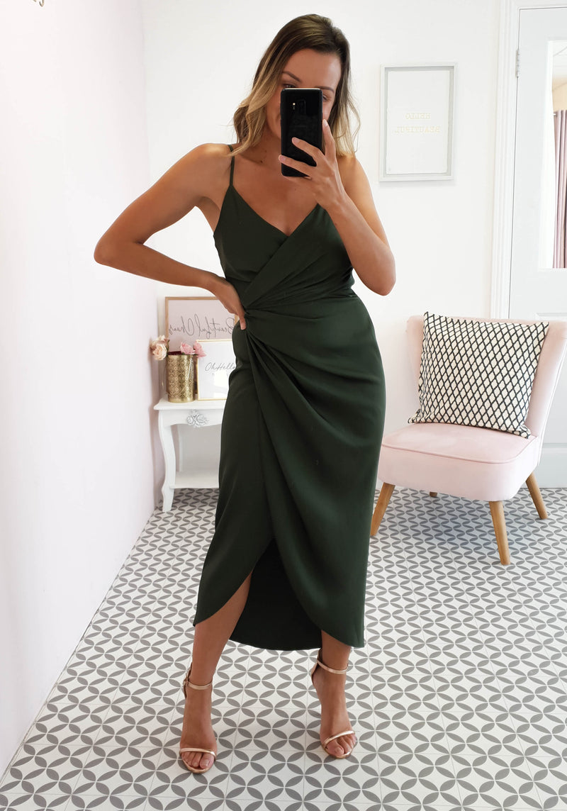 Carrie Midi Wrap Dress Khaki