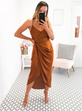 Carrie Midi Wrap Dress Rust