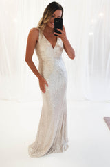 Paris Sequin Gown Silver