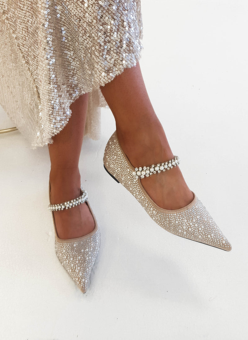 PRE-ORDER Sofia Embellished Pearl Strap Flats