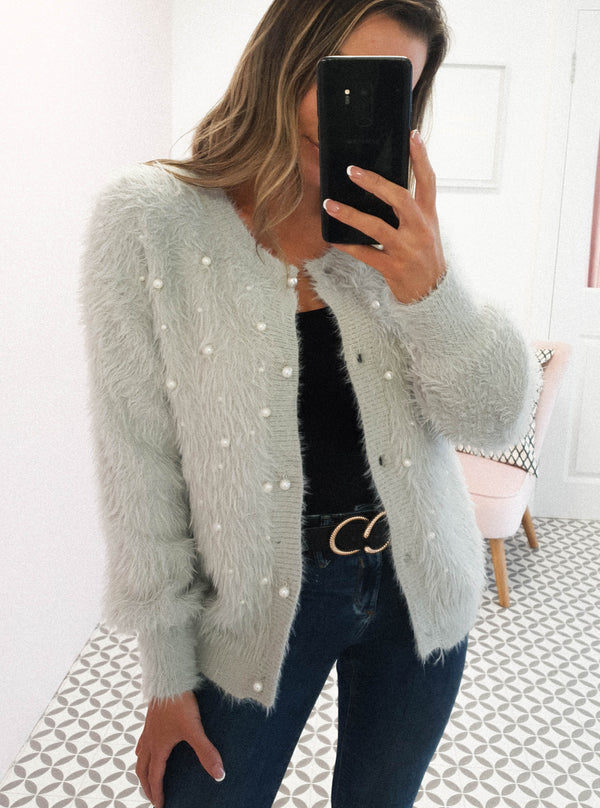 Darling Soft Pearl Cardigan Grey