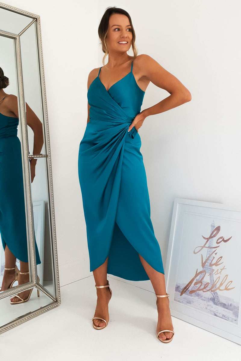 Carrie Midi Teal Wrap Dress
