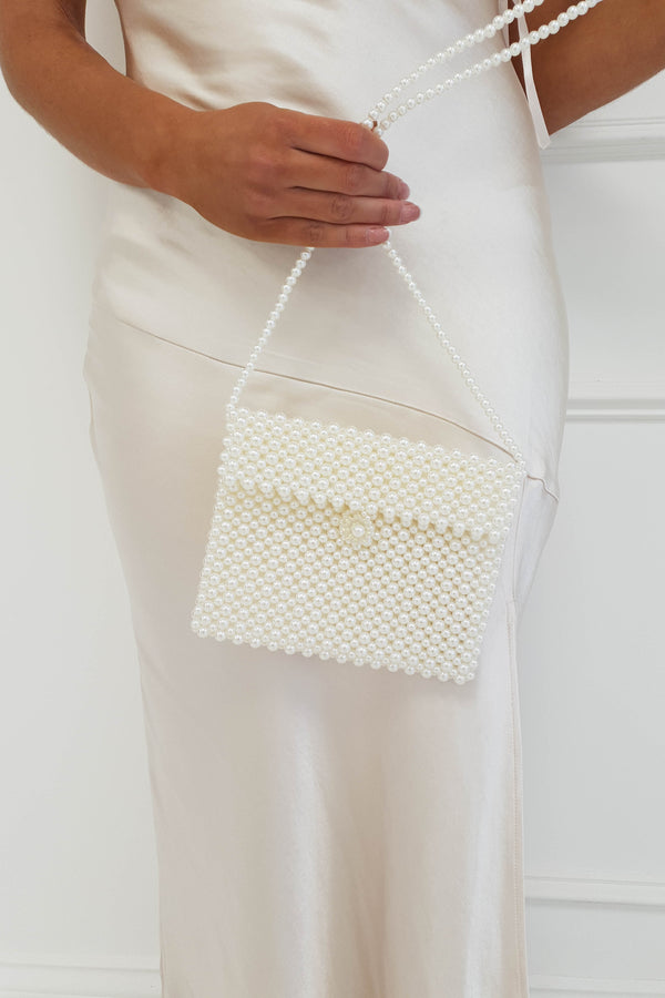 Sara Mini Square Pearl Cross Body Bag