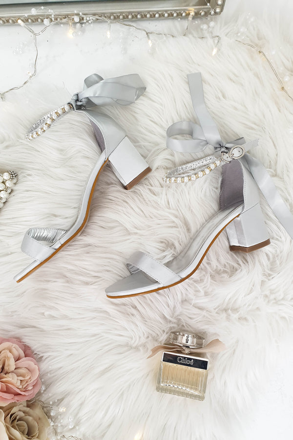 Zara Embellished Ankle Sandals Grey