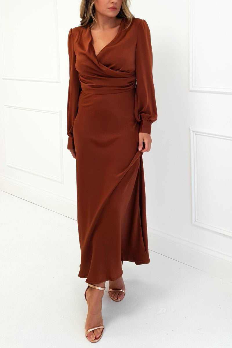 Bonnie Rust Long Sleeve Midi Dress