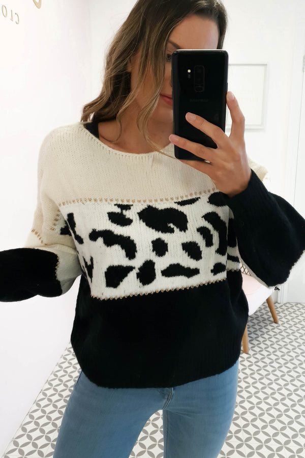 Danielle Animal Print Jumper Beige