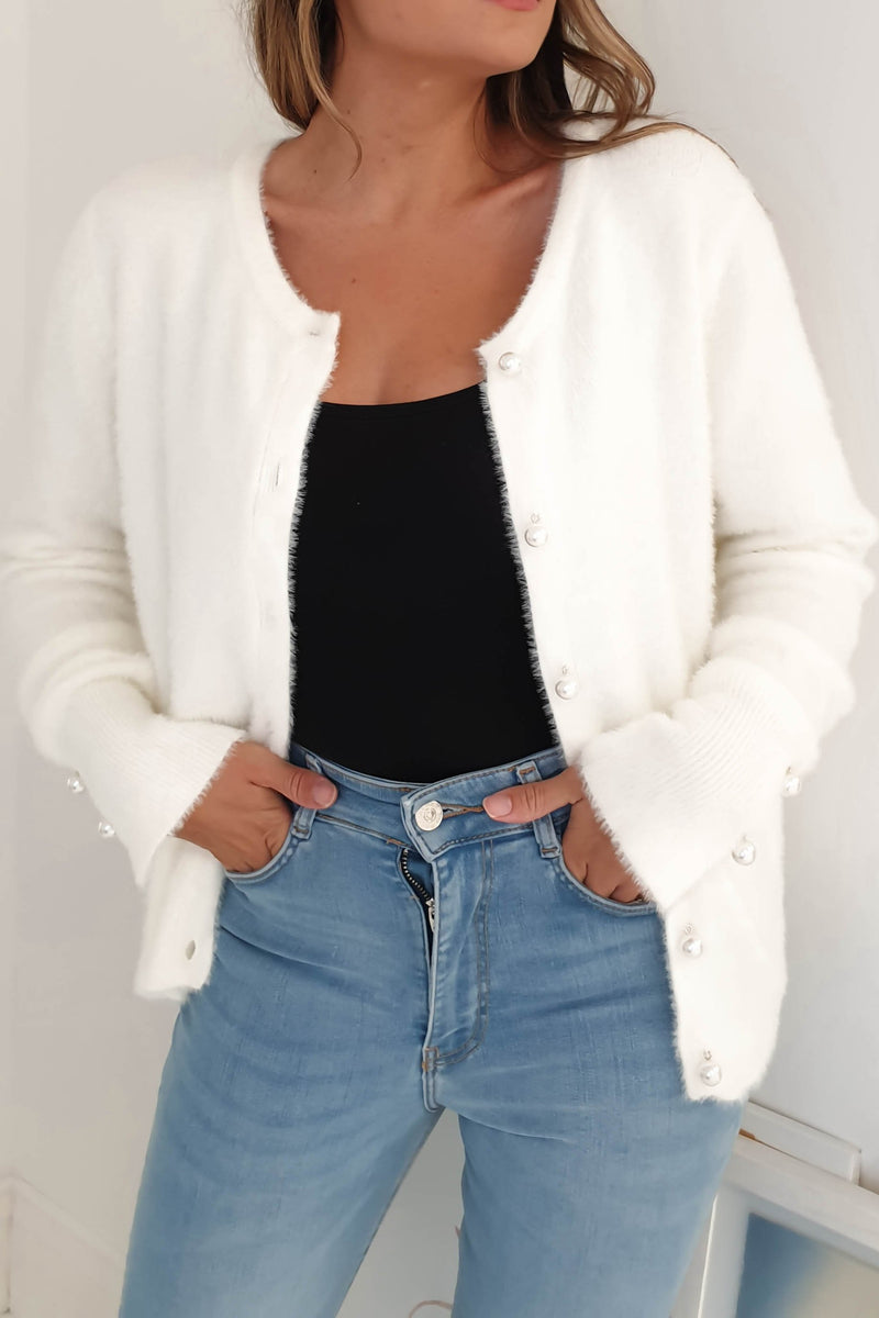 Diana Pearl Button Cardigan Cream