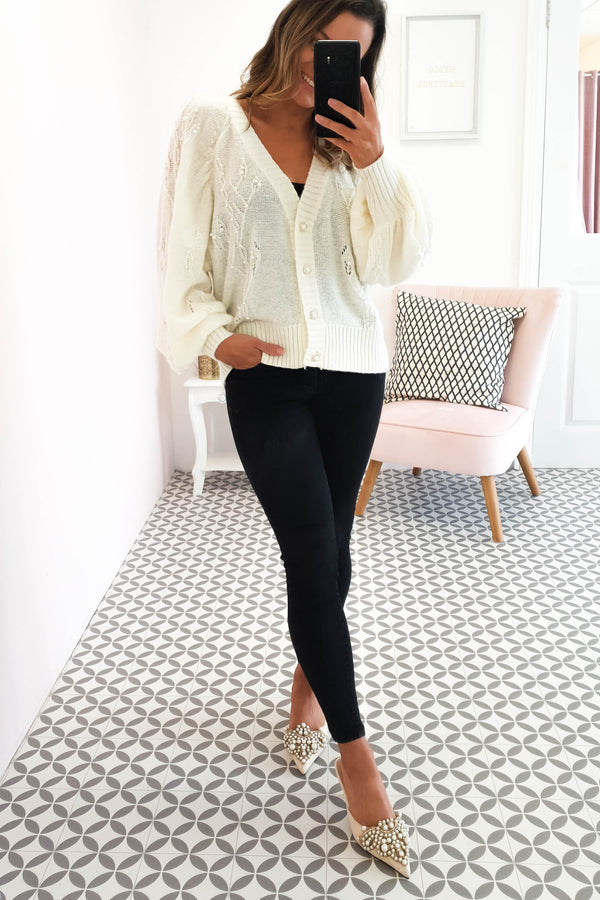 Ellen Knitted Pearl Cardigan Cream