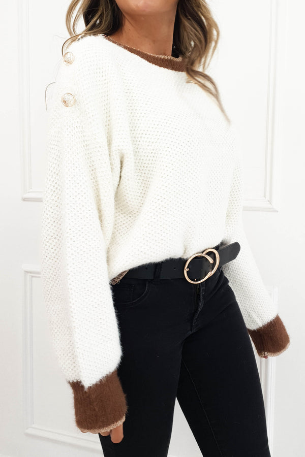 Lara Plush Cream Knitted Jumper