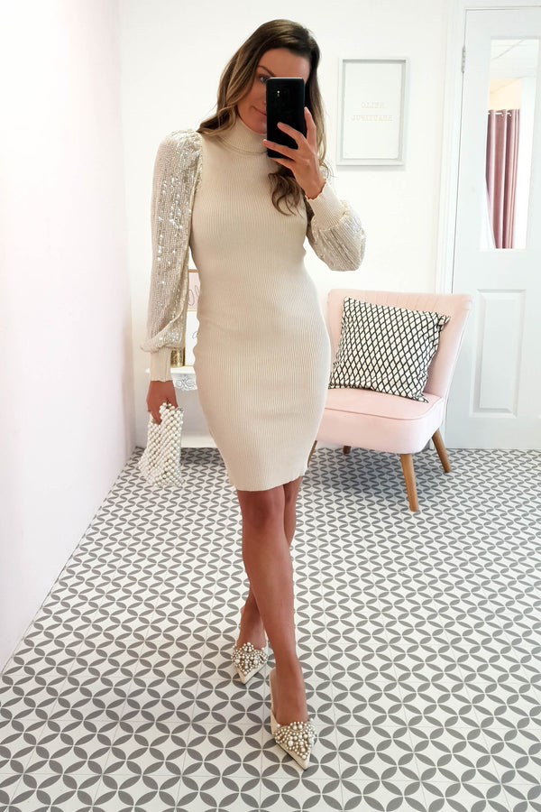Jennifer Sequin Sleeved Jumper Dress Cream