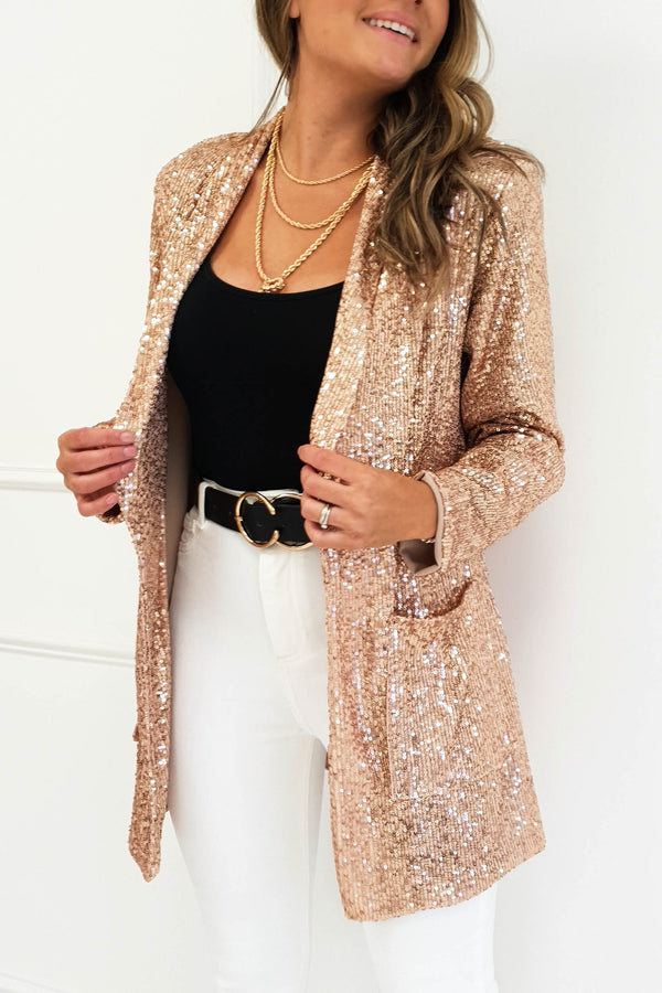 Rina Sequin Blazer Rose Gold