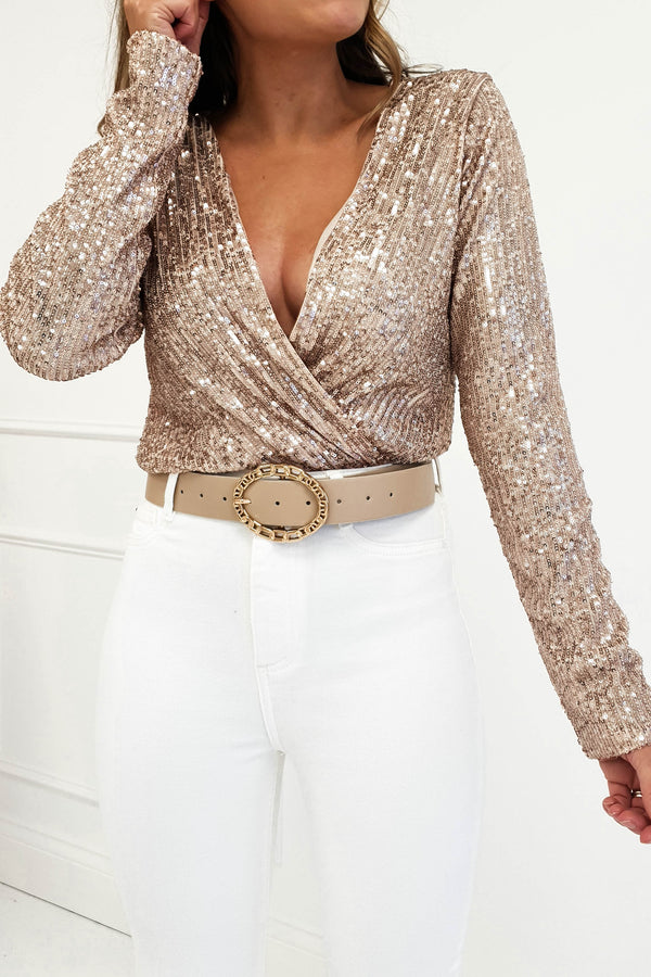 Carley Long Sleeve Top Gold Sequin