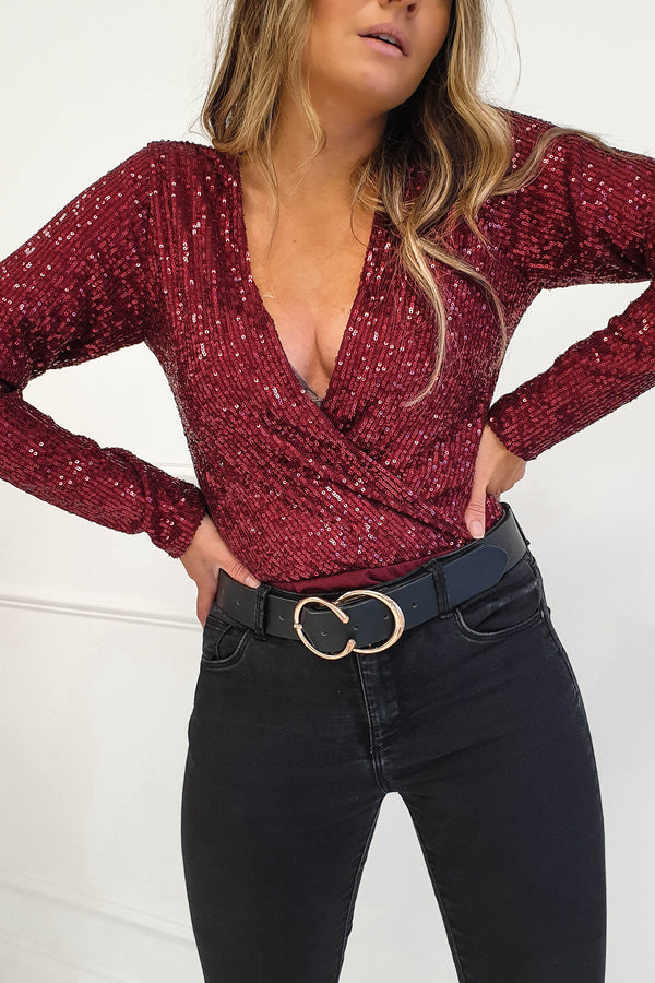 Carley Long Sleeve Top Burgundy Sequin
