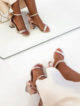 Zara Embellished Ankle Sandals Pink