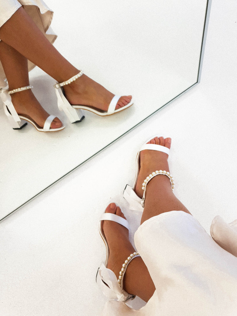 Zara Embellished Ankle Sandals White