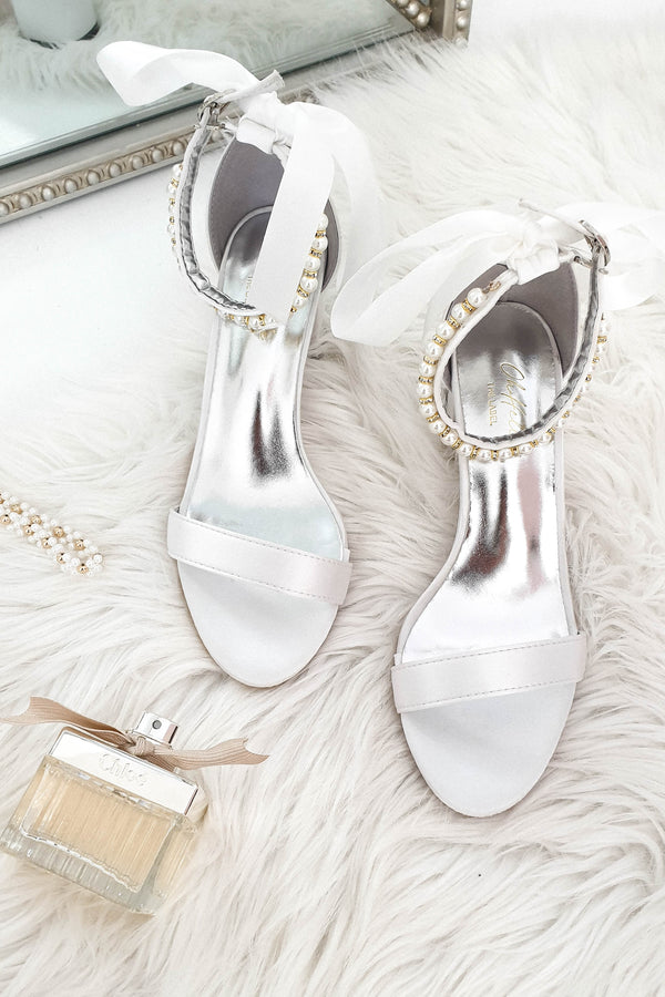 PRE-ORDER Zara Embellished Ankle Sandals White
