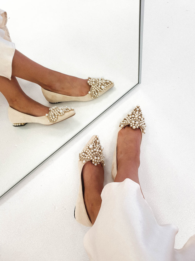 Bethany Pearl Embellished Flats Nude