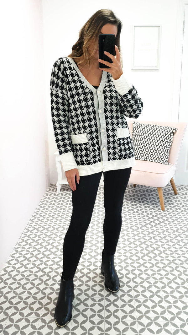 Houndstooth Print Cardigan