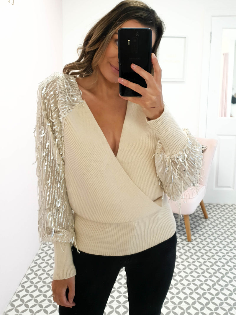 Bellini Sequin Sleeve Top Beige