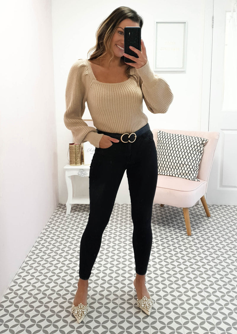Cece Square Neck Jumper Beige