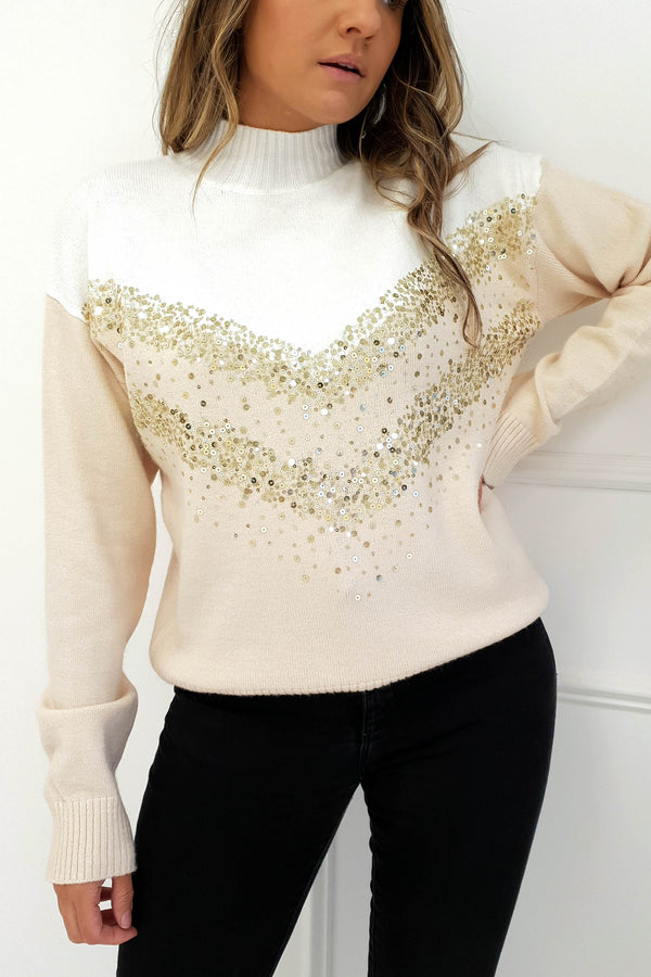 Pippa Sequin Jumper White/Beige