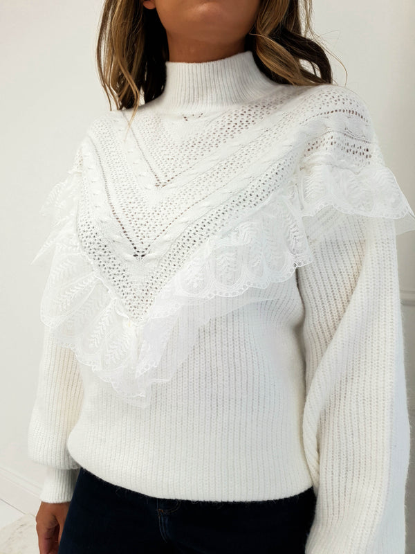 Jolie Lace Frill Jumper White