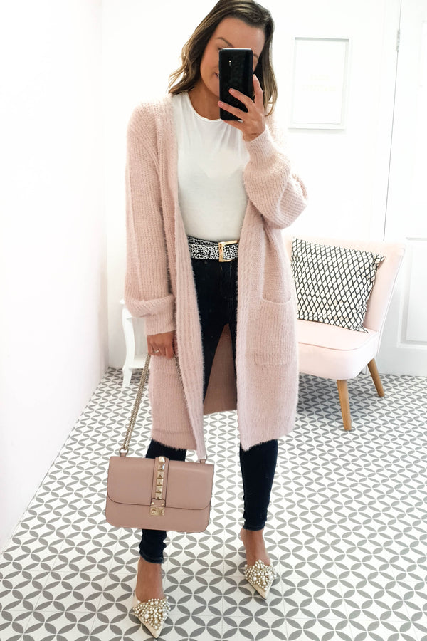 Asta Soft Fluffy Cardigan Rose