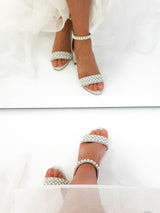 Ava Embellished Ankle Sandals Silver