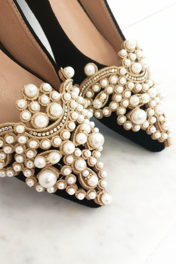 PRE-ORDER Bethany Pearl Embellished Flats Black