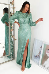 Peta Sequin Gown Green