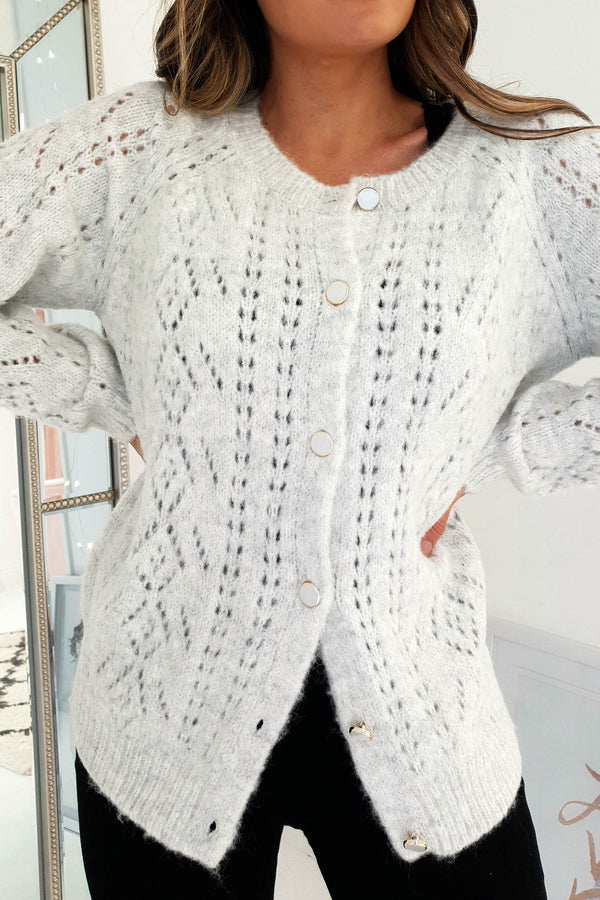 Hannah Knitted Cardigan Grey