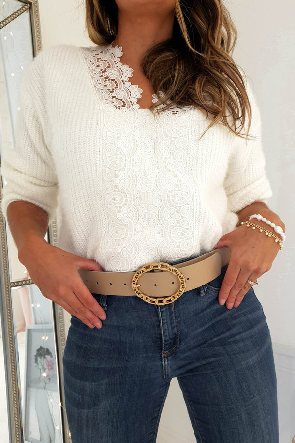 Leela Lace Jumper White