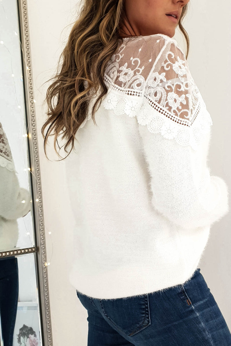 Kitty Lace Detail Jumper White