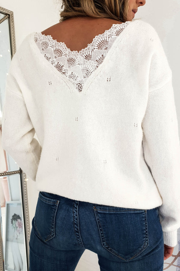 Susi Lace Back Jumper White