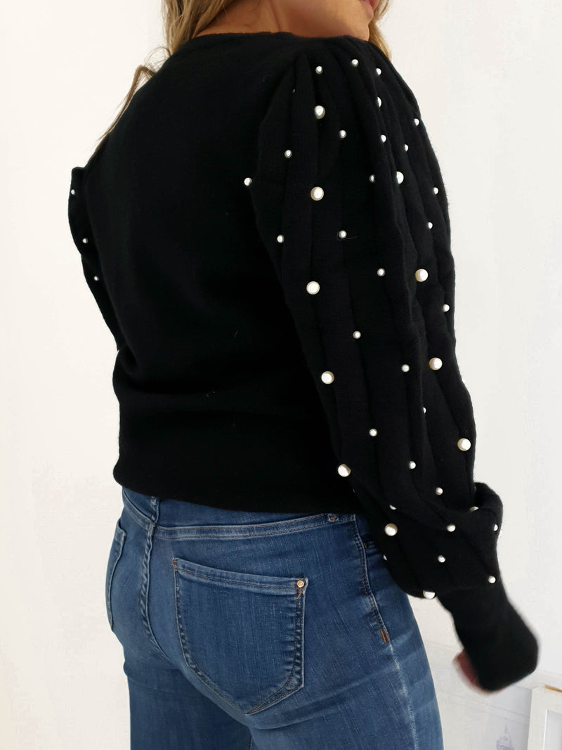 Adele Pearl Arm Jumper Black