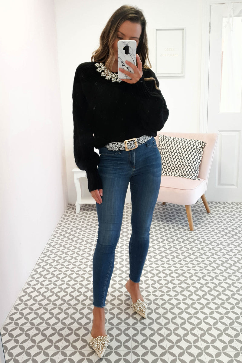 Coco Pearl Neck Jumper Black