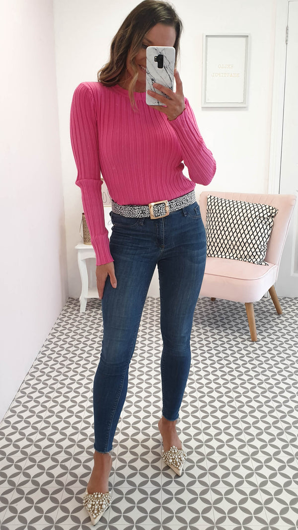 Louisa Ribbed Jumper Hot Pink