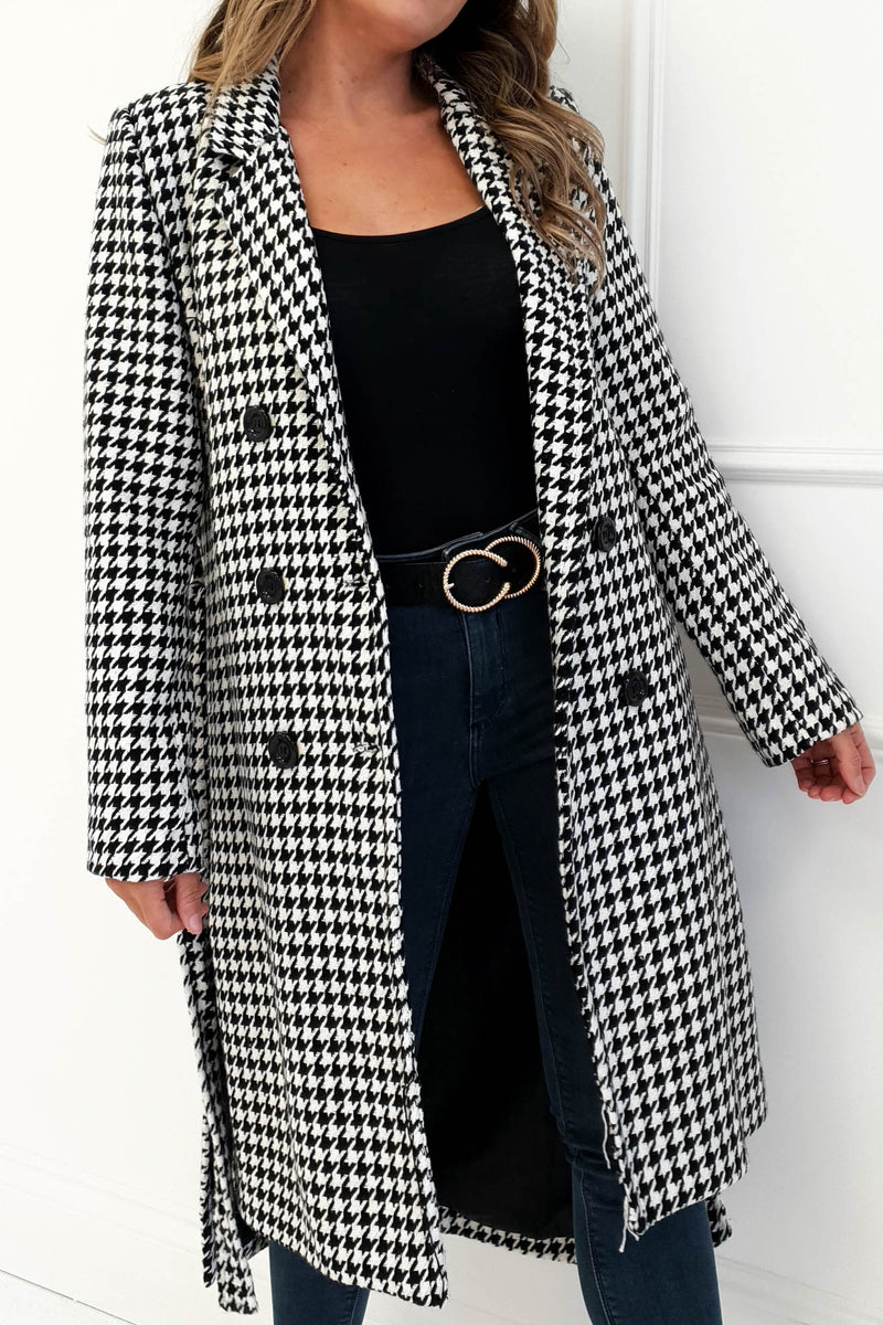 Houndstooth Print Coat LONG