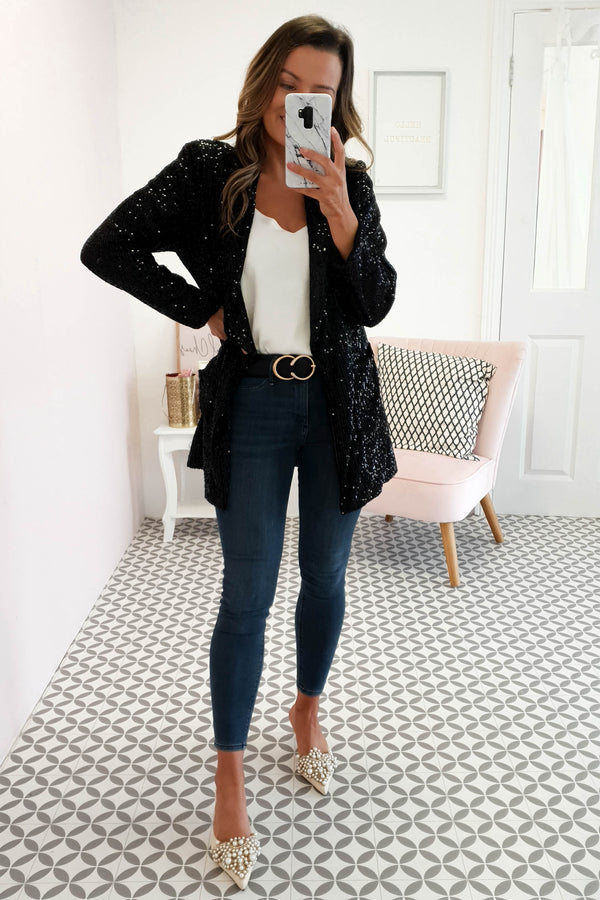 Rina Sequin Blazer Black