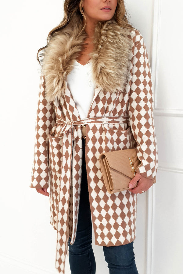 Sutton Camel Cardigan with Faux Fur