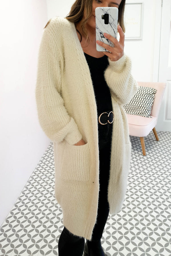 Asta Soft Fluffy Cardigan Beige
