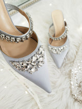 Anna Satin Embellished Mules Grey | Silver