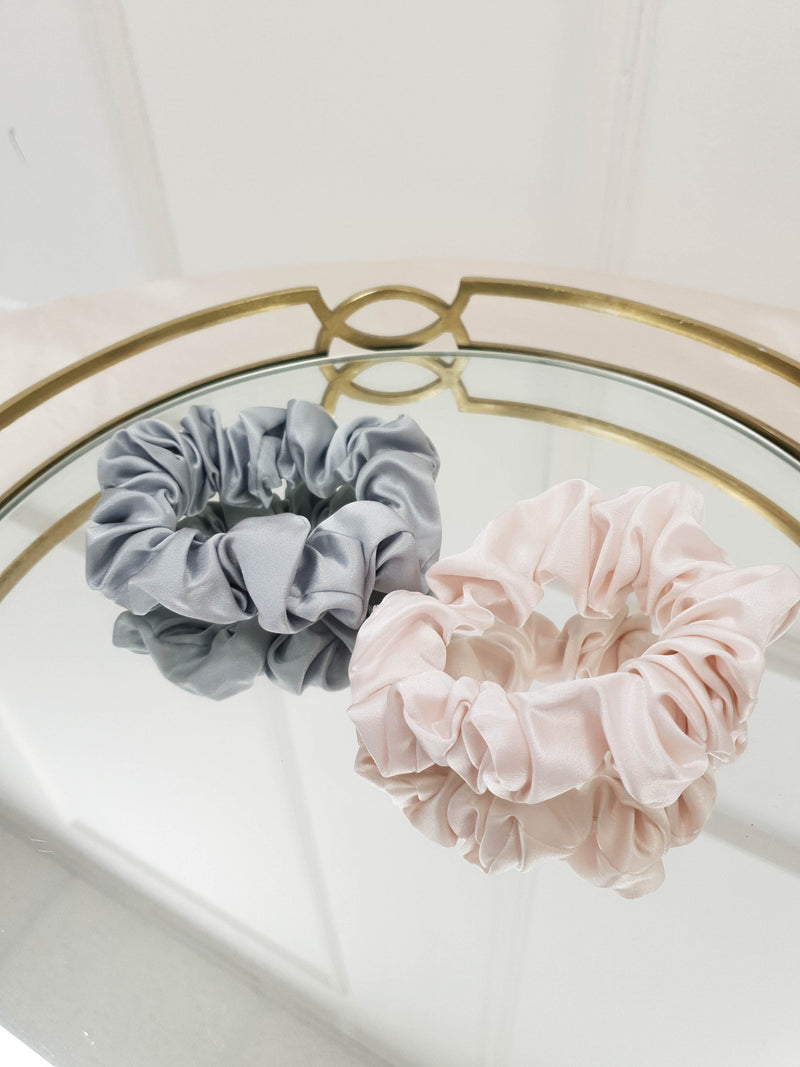 SilkLee | Luxury Medium Mulberry Silk Scrunchies | 2 Pack | Grey and Blush