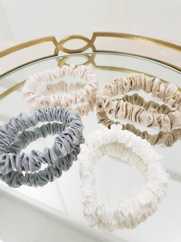 SilkLee | Luxury Slim Mulberry Silk Scrunchies | 4 pack
