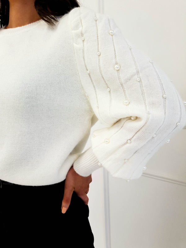 Adele Pearl Arm Jumper Cream